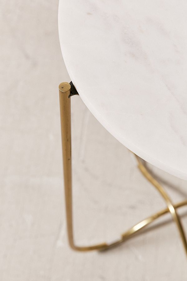 Marble Surface Side Table Brass Legs-3