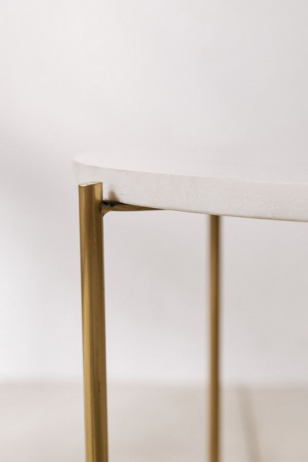 Marble Surface Side Table Brass Legs-4