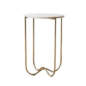 Marble Surface Side Table Brass Legs-6