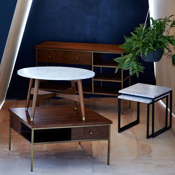 Marble Tabletop Coffee Table Wood Legs-1