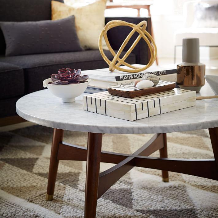 Marble Tabletop Coffee Table Wood Legs-11