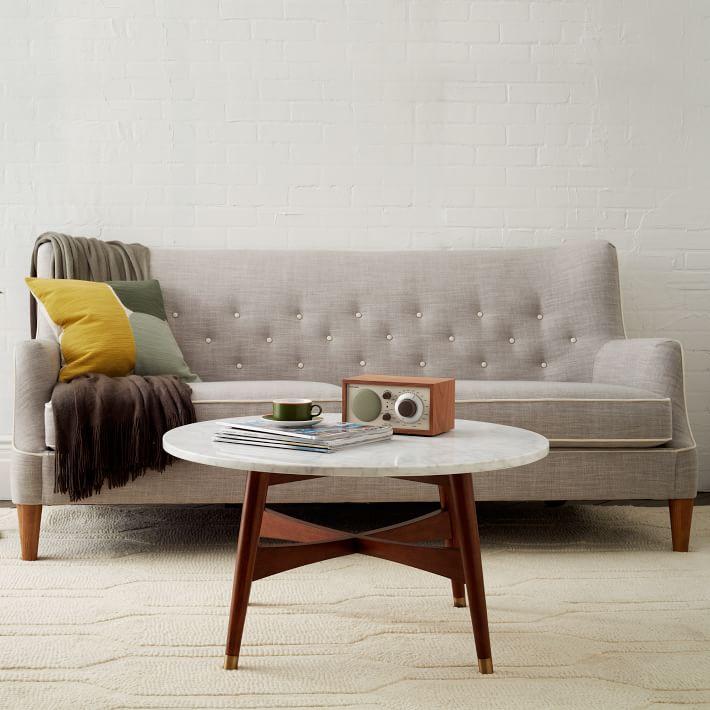 Marble Tabletop Coffee Table Wood Legs-15