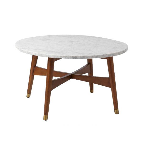 Marble Tabletop Coffee Table Wood Legs-4
