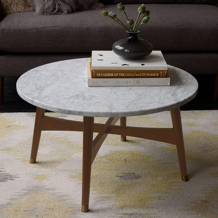 Marble Tabletop Coffee Table Wood Legs-6