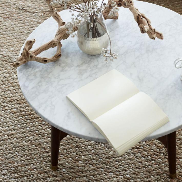 Marble Tabletop Coffee Table Wood Legs-7