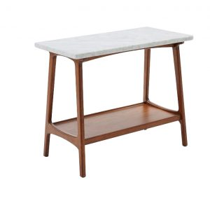 Rectangle Marble Side Table Wood Base-5
