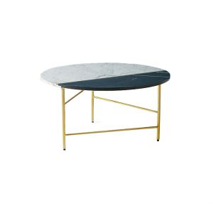Round Marble Coffee Table In White And Black-3