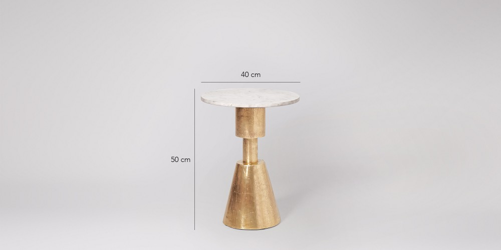 Small Marble Side Table In Brass Base-3