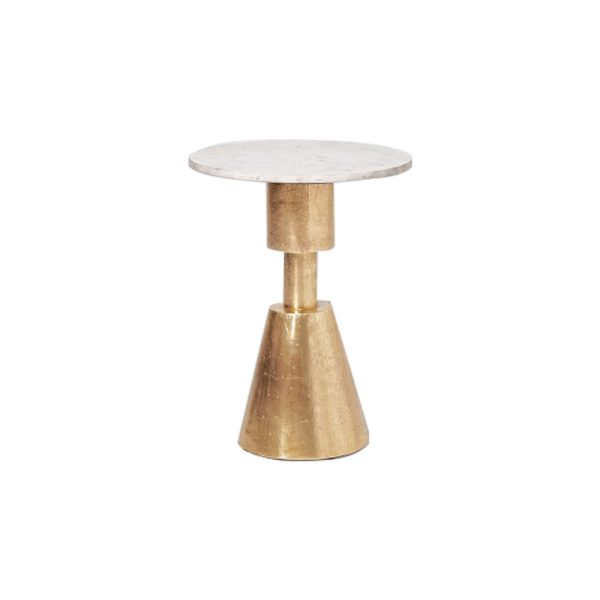 Small Marble Side Table In Brass Base-4