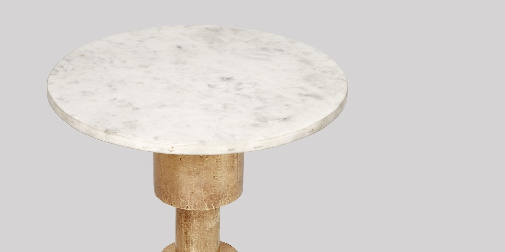 Small Marble Side Table In Brass Base-5