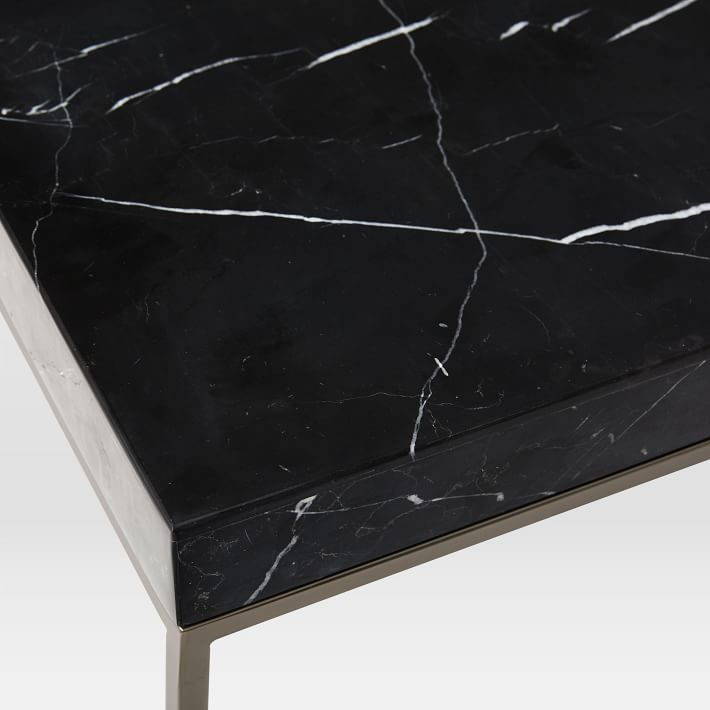 Square Black Marquina Marble Side Table-1