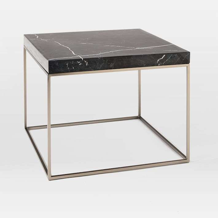 Square Black Marquina Marble Side Table-6