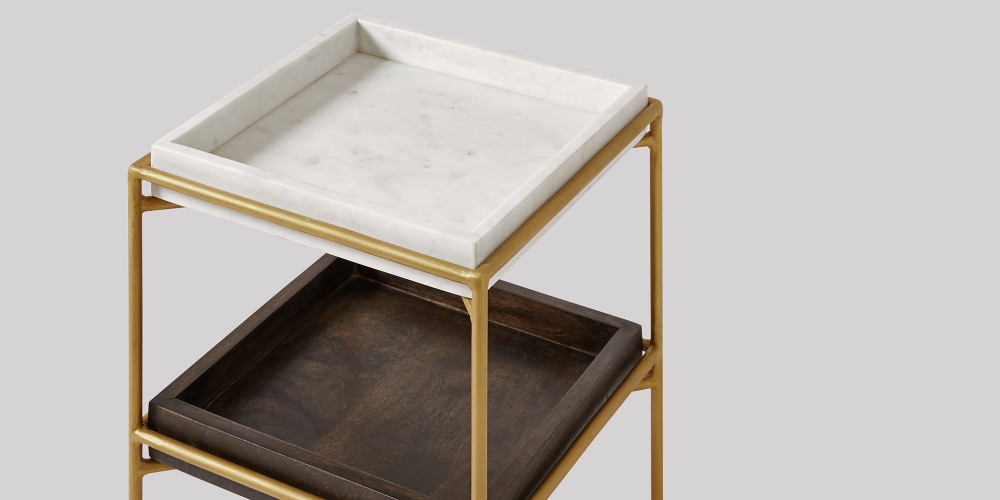 Square Marble And Wood Trays Side Table-1