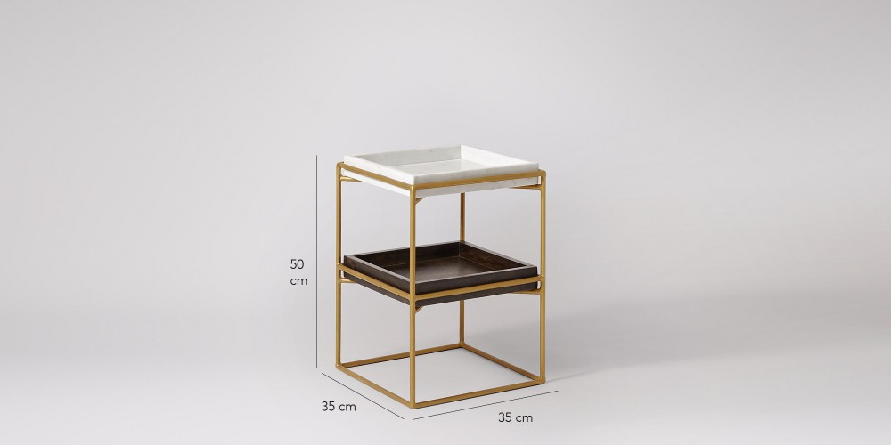Square Marble And Wood Trays Side Table-3