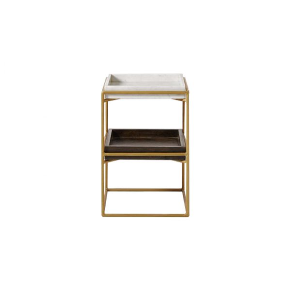 Square Marble And Wood Trays Side Table-4