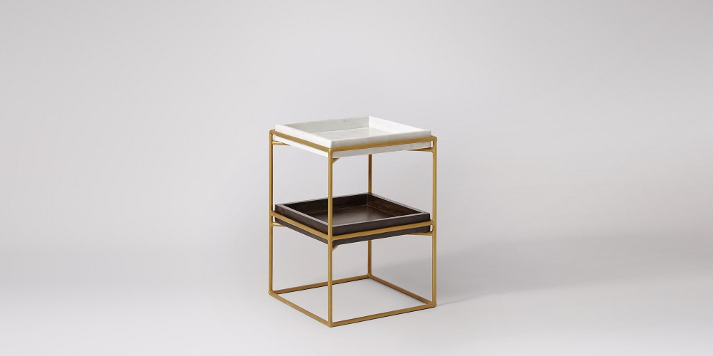 Square Marble And Wood Trays Side Table-6