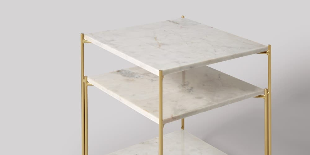 Three-tier Square Marble Side Table-2
