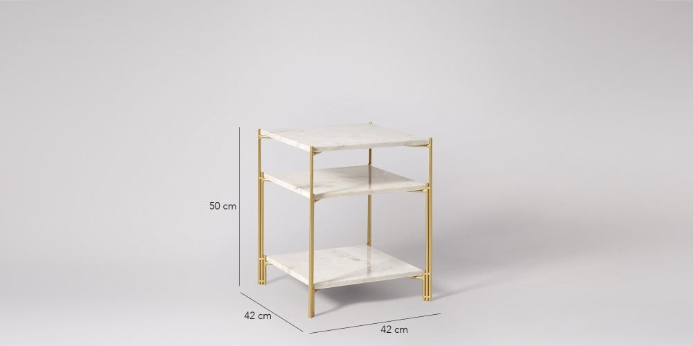 Three-tier Square Marble Side Table-4