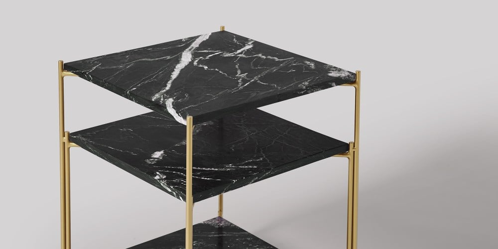 Three-tier Square Marble Side Table-7