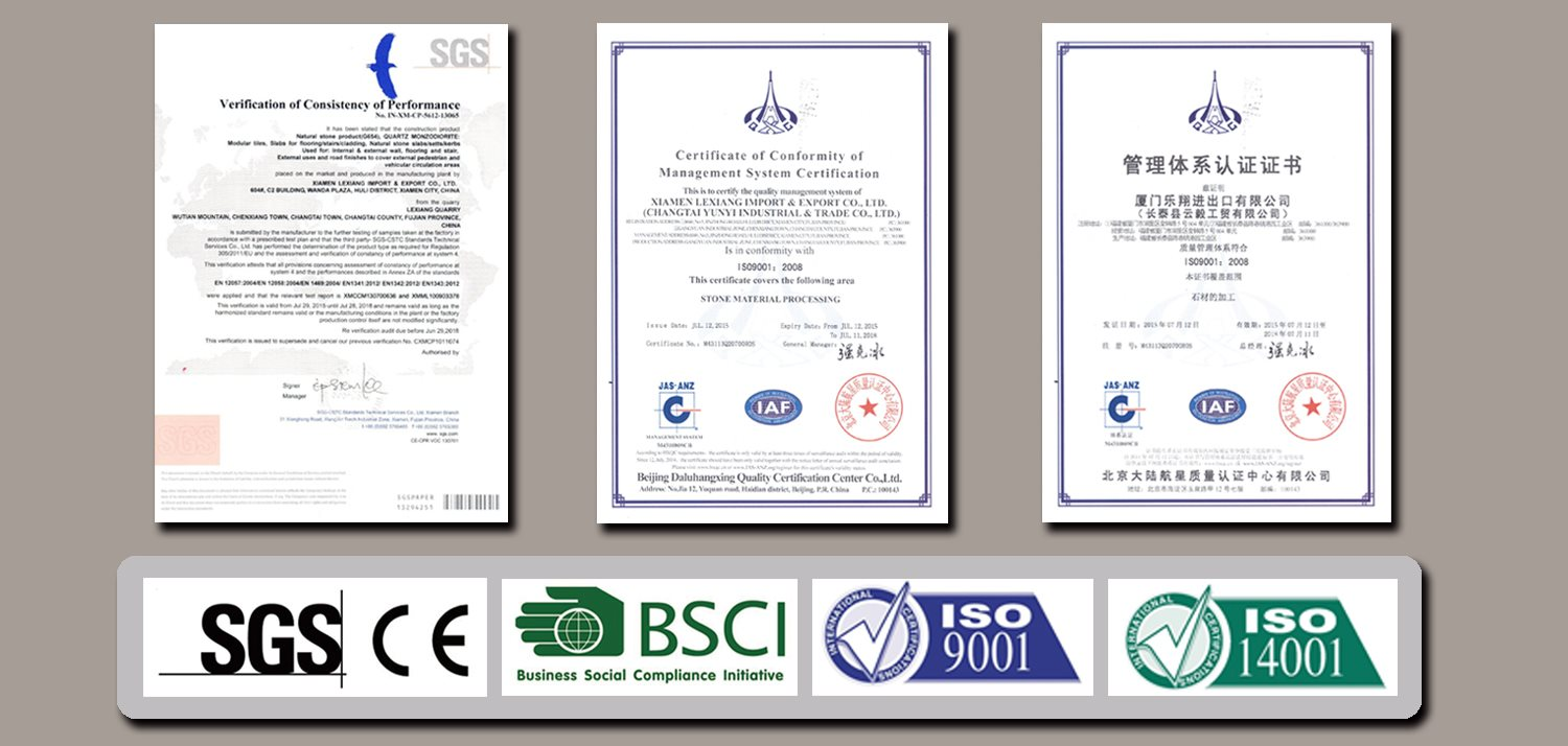 Lexiang Granite Stone SGS BSCI ISO Certificate