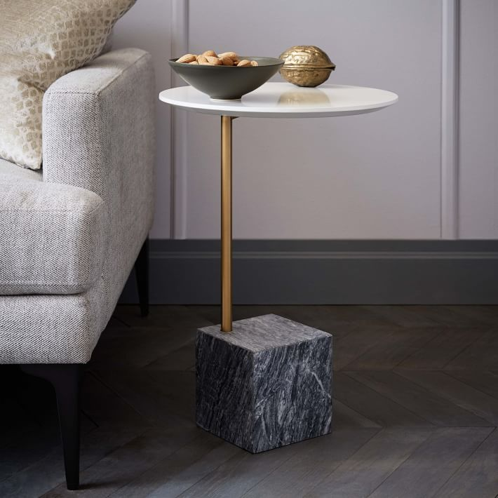 Marble Cube Base Side Table-2