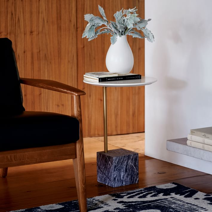 Marble Cube Base Side Table-3