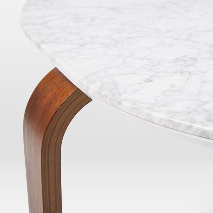 Walnut Wood Base Marble Coffee Table-1