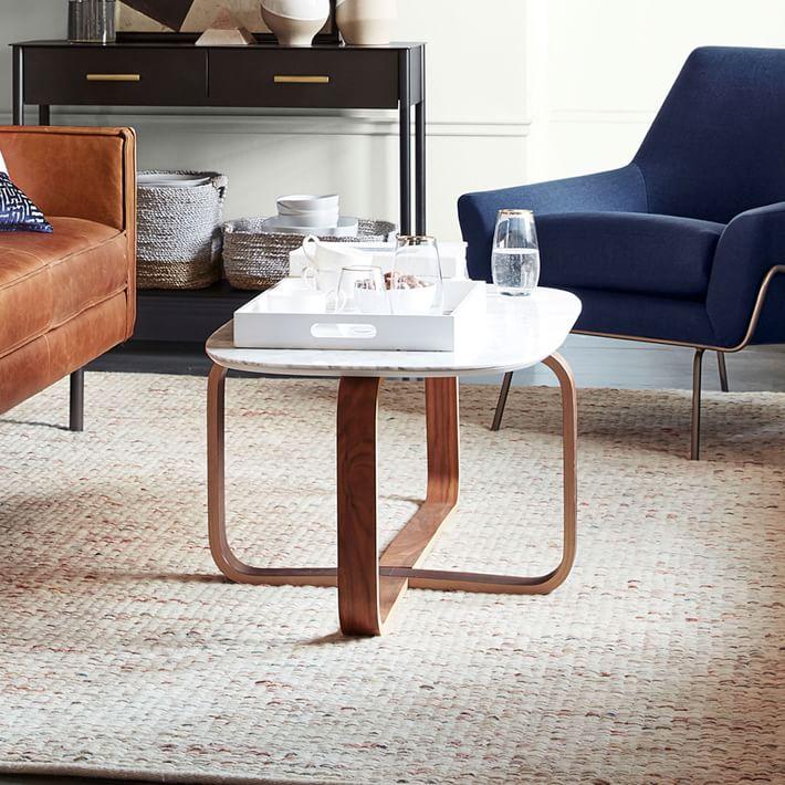 Walnut Wood Base Marble Coffee Table-2