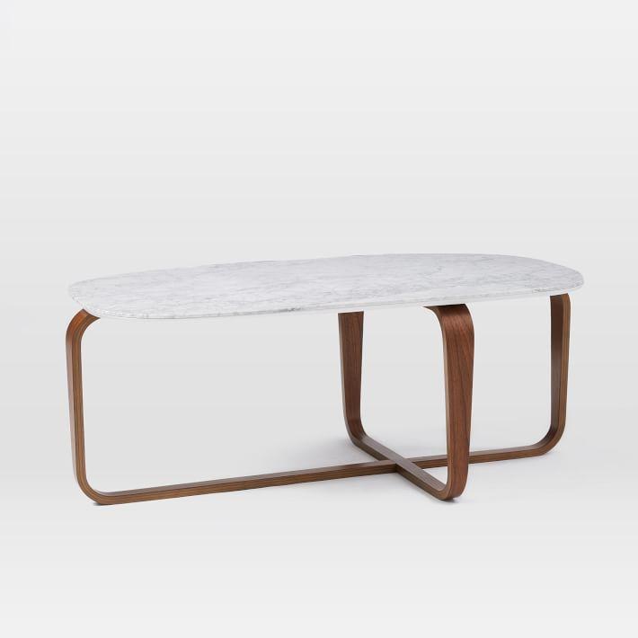 Walnut Wood Base Marble Coffee Table-5