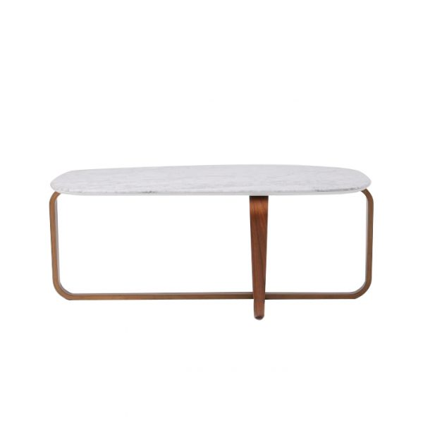 Walnut Wood Base Marble Coffee Table-7