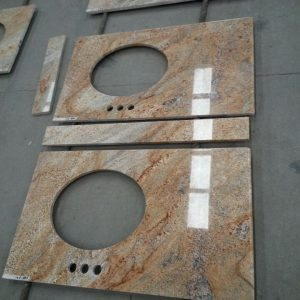 Customizable King Gold Granite Worktop For Bathroom-2