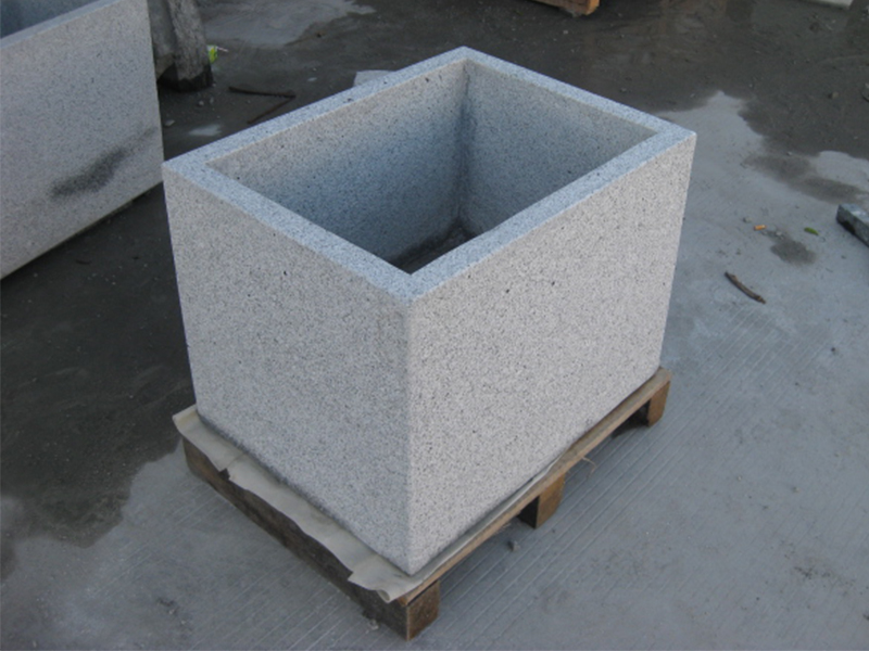 G603 Grey Granite Stone Trough Planter Customizable-1