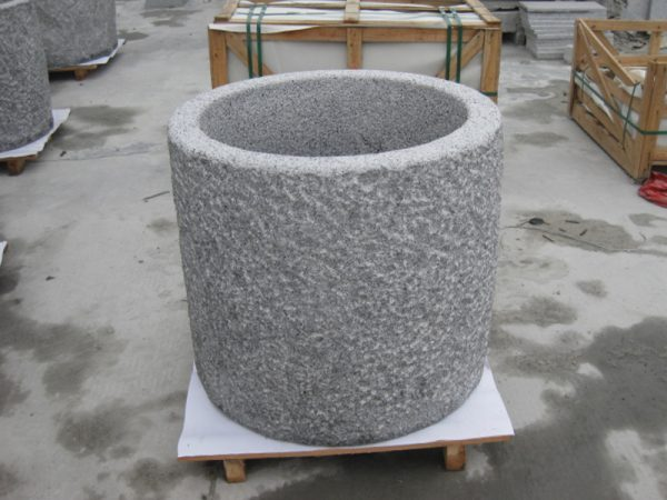 G603 Grey Granite Stone Trough Planter Customizable-2