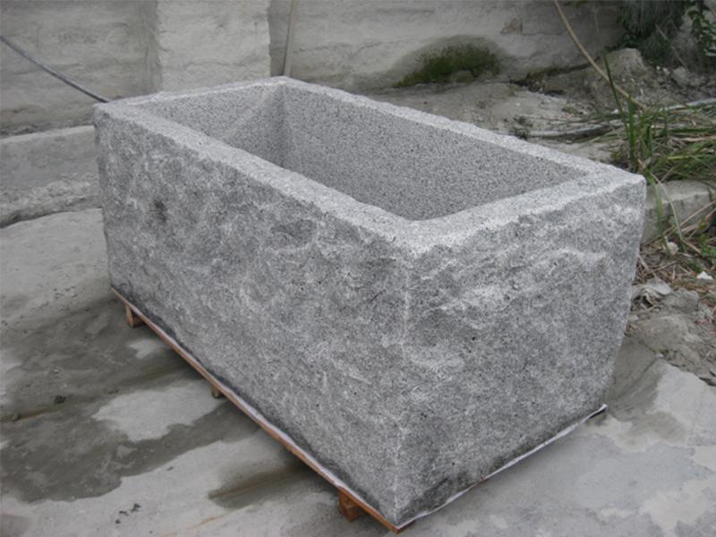 G603 Grey Granite Stone Trough Planter Customizable-4