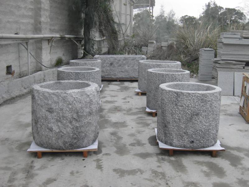 G603 Grey Granite Stone Trough Planter Customizable-5