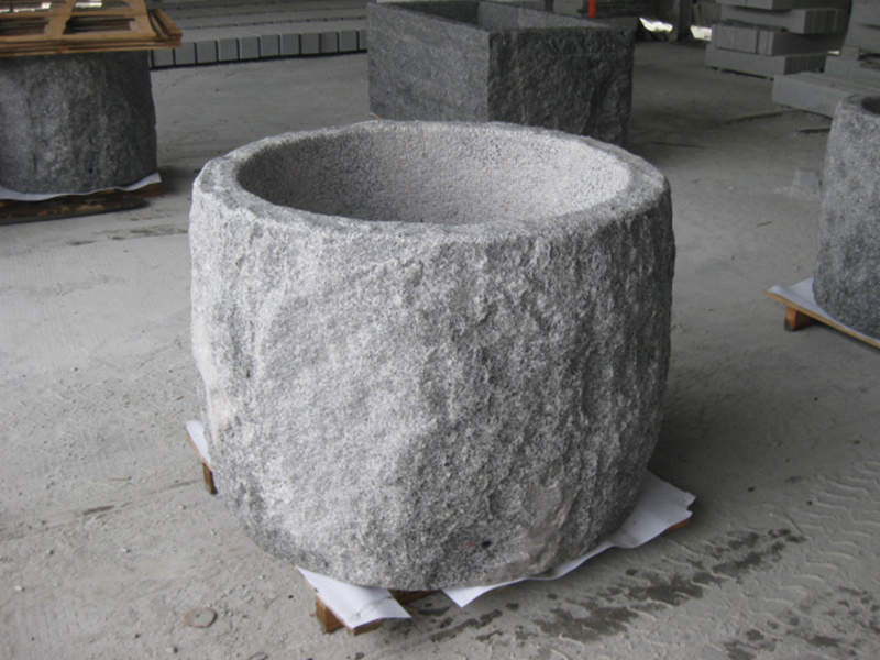 G603 Grey Granite Stone Trough Planter Customizable-6