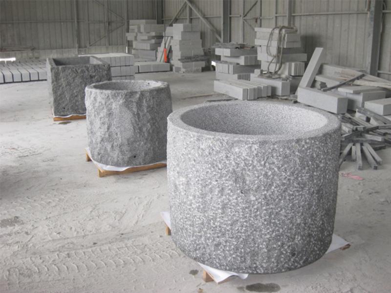 G603 Grey Granite Stone Trough Planter Customizable-7