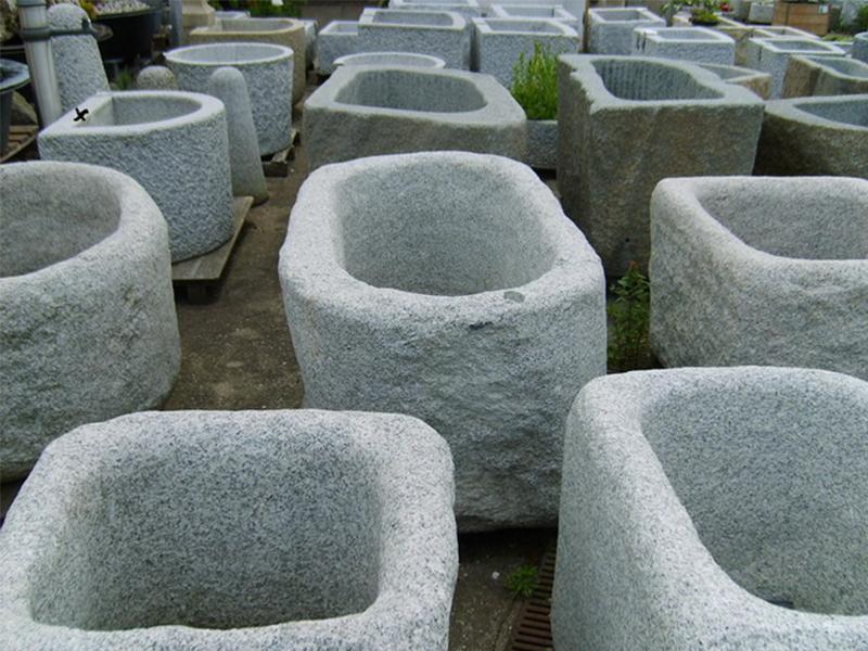 G603 Grey Granite Stone Trough Planter Customizable-8