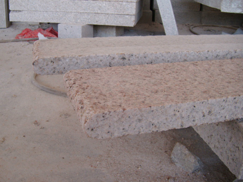 G682 Yellow Granite Flamed Finish Outdoor Stairs-4