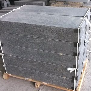G684 Black Honed Finish Granite Stone Steps For Sale-8