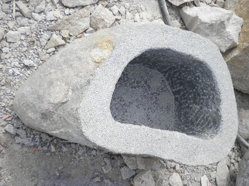 G685 Black Granite Stone Trough Planter Customizable-2