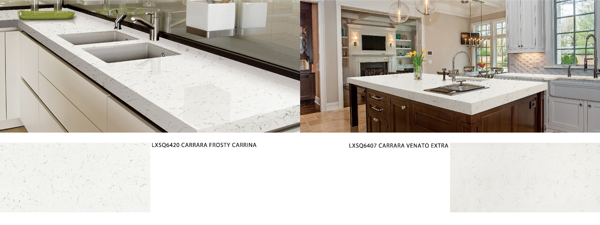 LXSQ6420 CARRARA FROSTY CARRINA quartz countertop